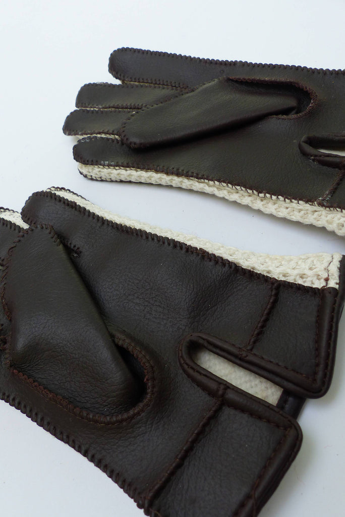 Vintage Lined 70s Brown/Cream Faux-Leather Gloves 4-6 Y-Gloves-Petit Pays Vintage