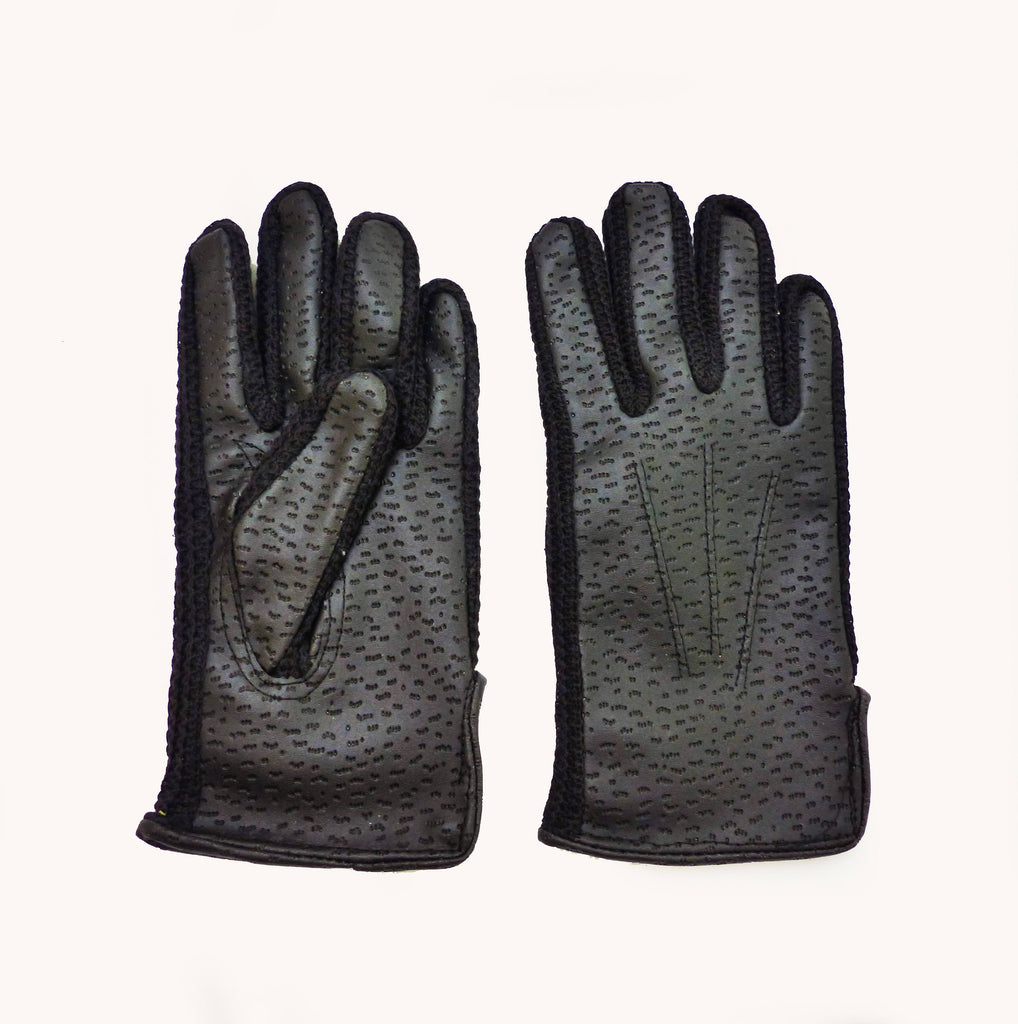 Vintage Lined 70s Black Faux-Leather Gloves 6-8 Y-Gloves-Petit Pays Vintage