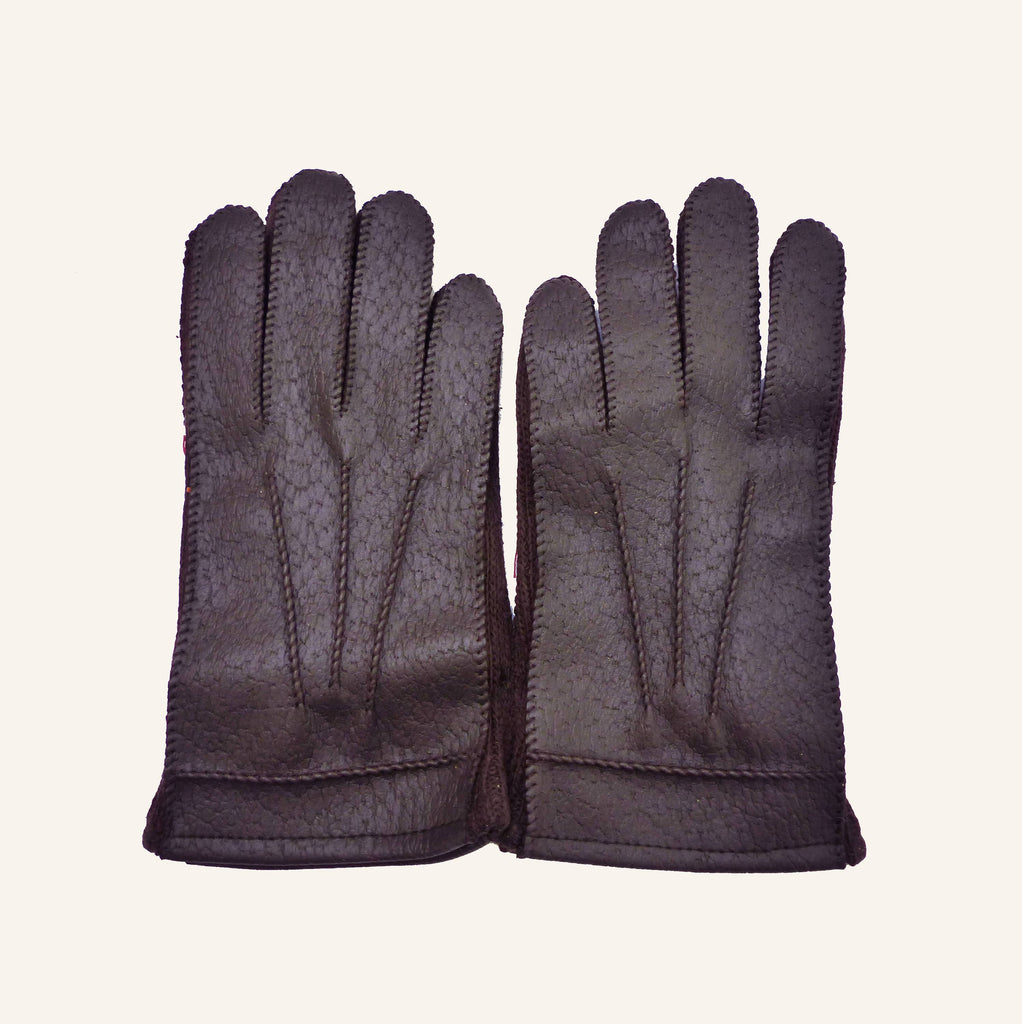 Vintage Lined 70s Dark Brown Faux-Leather Gloves 6-8 Y-Gloves-Petit Pays Vintage