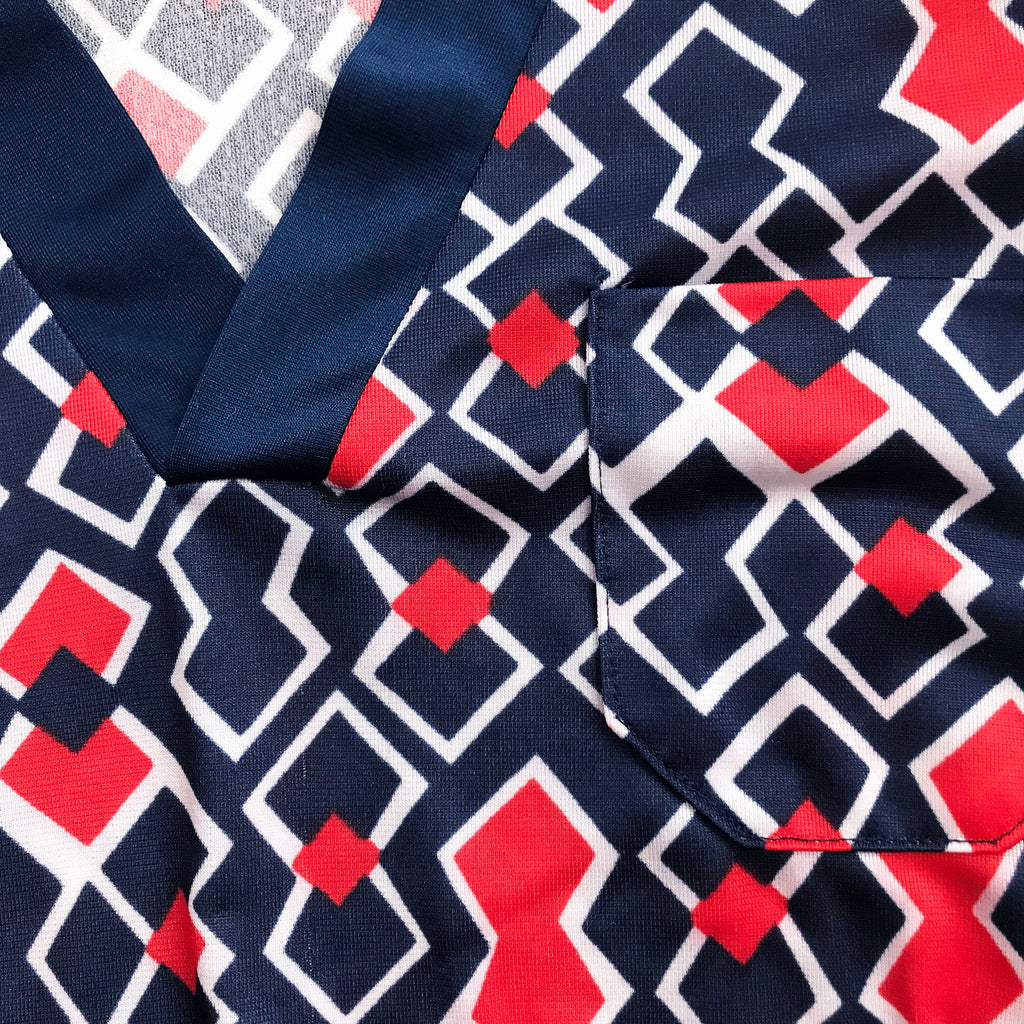Vintage 60's Red / Blue Geometric Top Made in France  6-8 Years
