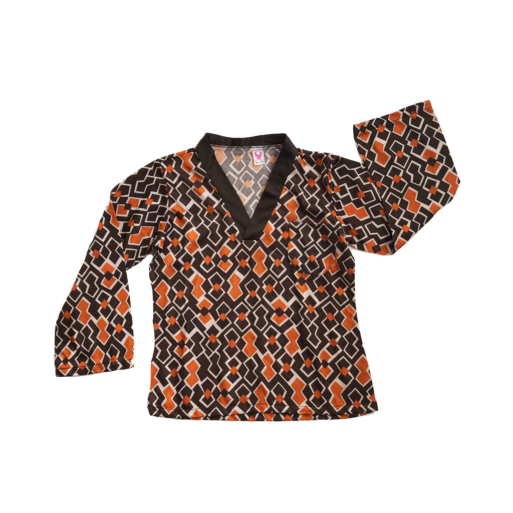 Vintage 60's Brown / Orange Geometric Top Made in France  6-8 Years