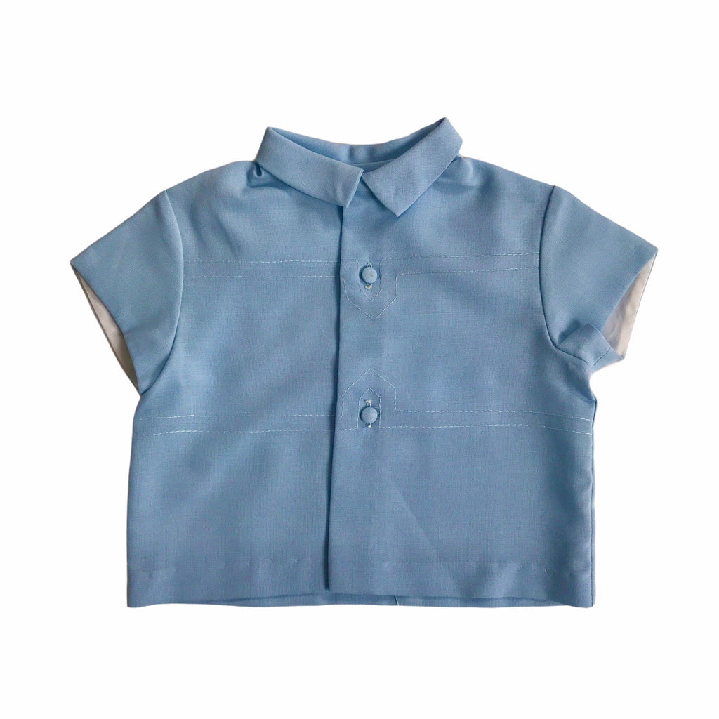Vintage 1960s Blue Buttoned Top French Made 9-12 Months