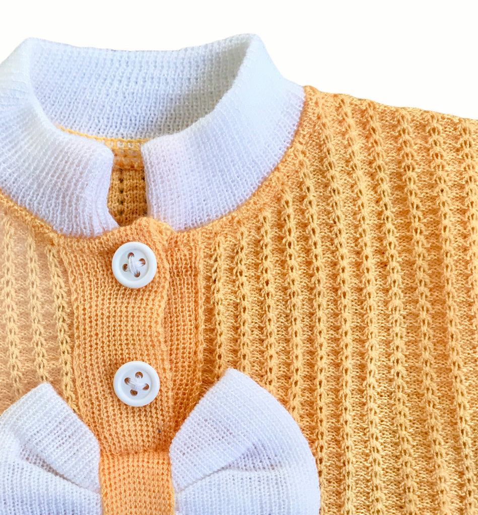 Vintage 70's Yellow Knitted Bow Top Newborn / Baby French Made 0-3 Months