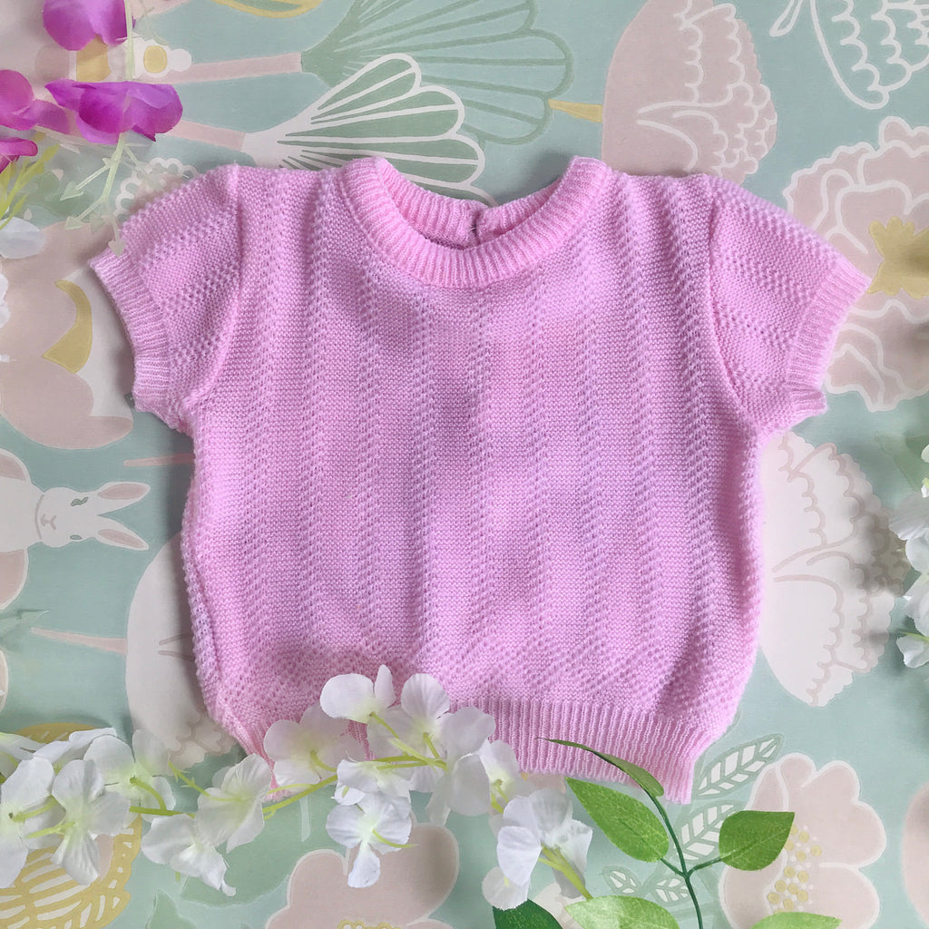 Vintage 70's Pink Knitted Top French Made 3-6 Months