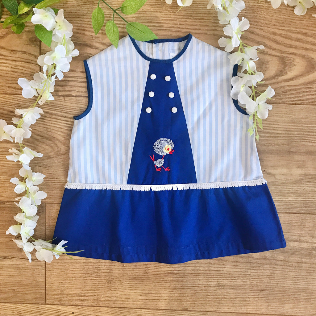 "Vintage 60's Blue ""Baby Chick"" Striped Dress French Made 9-12 Months"