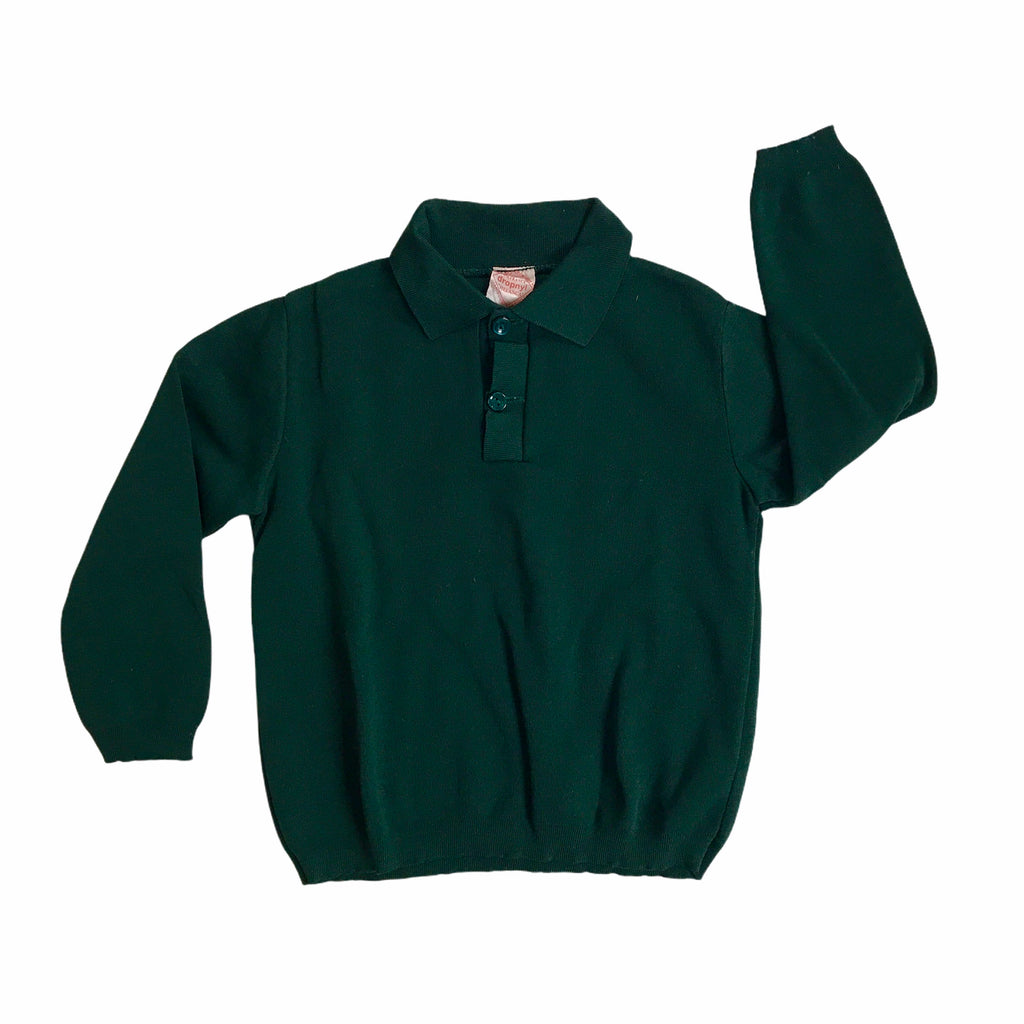 Vintage 1960s Dark Green Nylon Mod Top / Polo French Made 4-5 Years