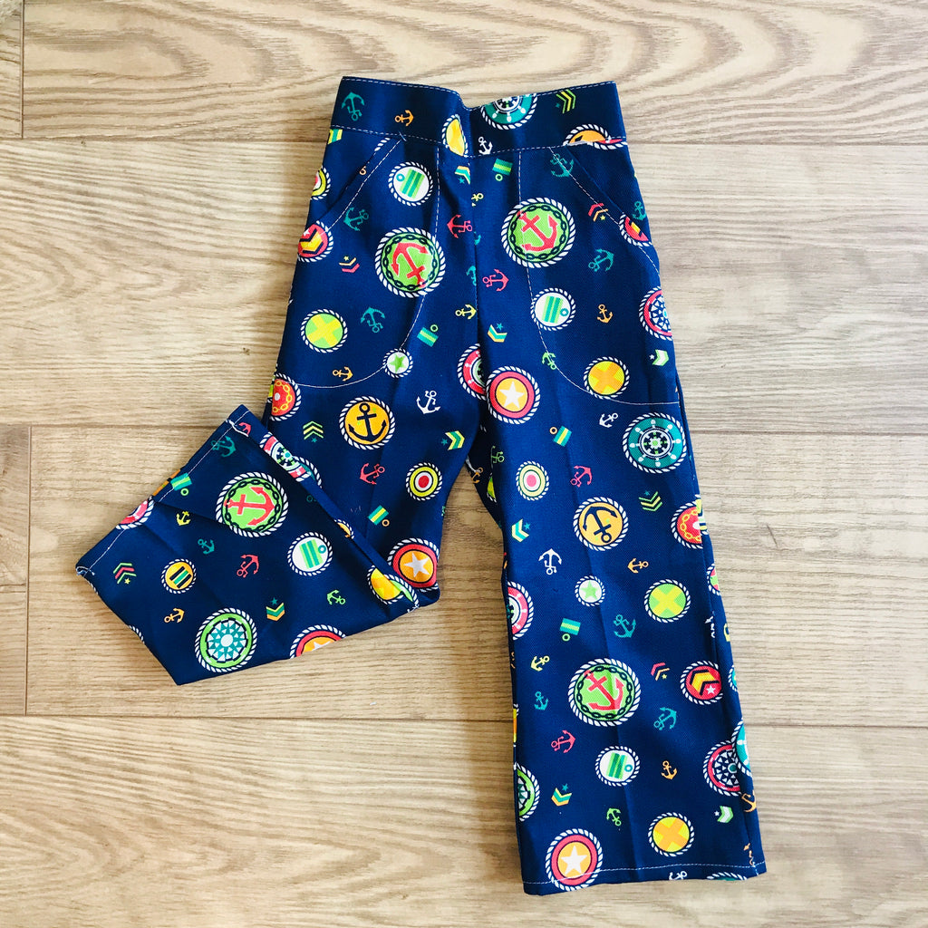 Vintage Deadstock  60s 70s Navy Nautical Printed Bell Bottoms 18-24M, 2-3 and 3-4Y