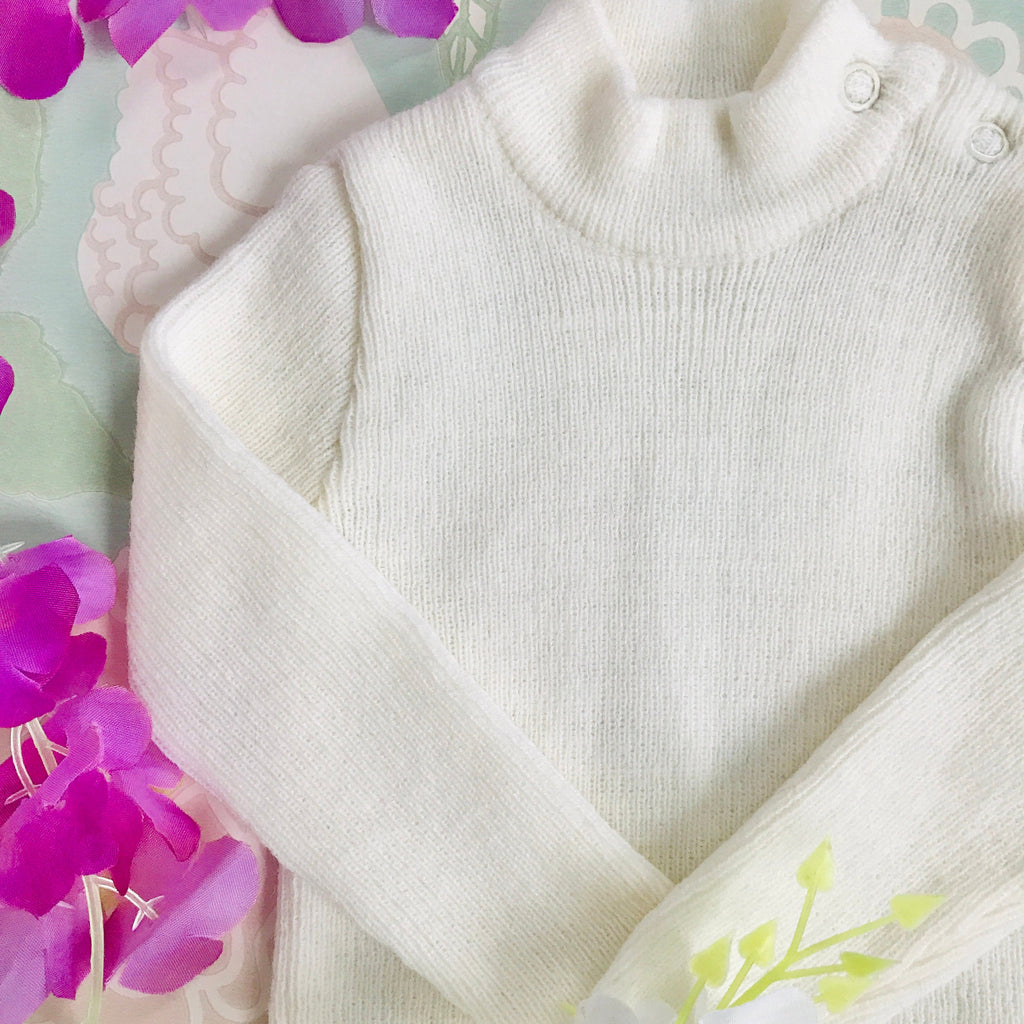 Vintage Deadstock 70's Ivory Knitted Hi-neck Jumper French Newborn / 0-3 Months
