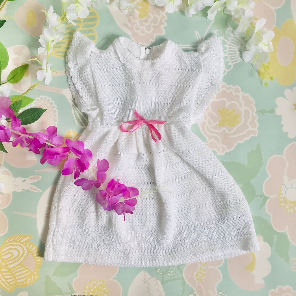 Vintage 1970's White Knitted Baby Dress French Made Newborn / 0-3  Months