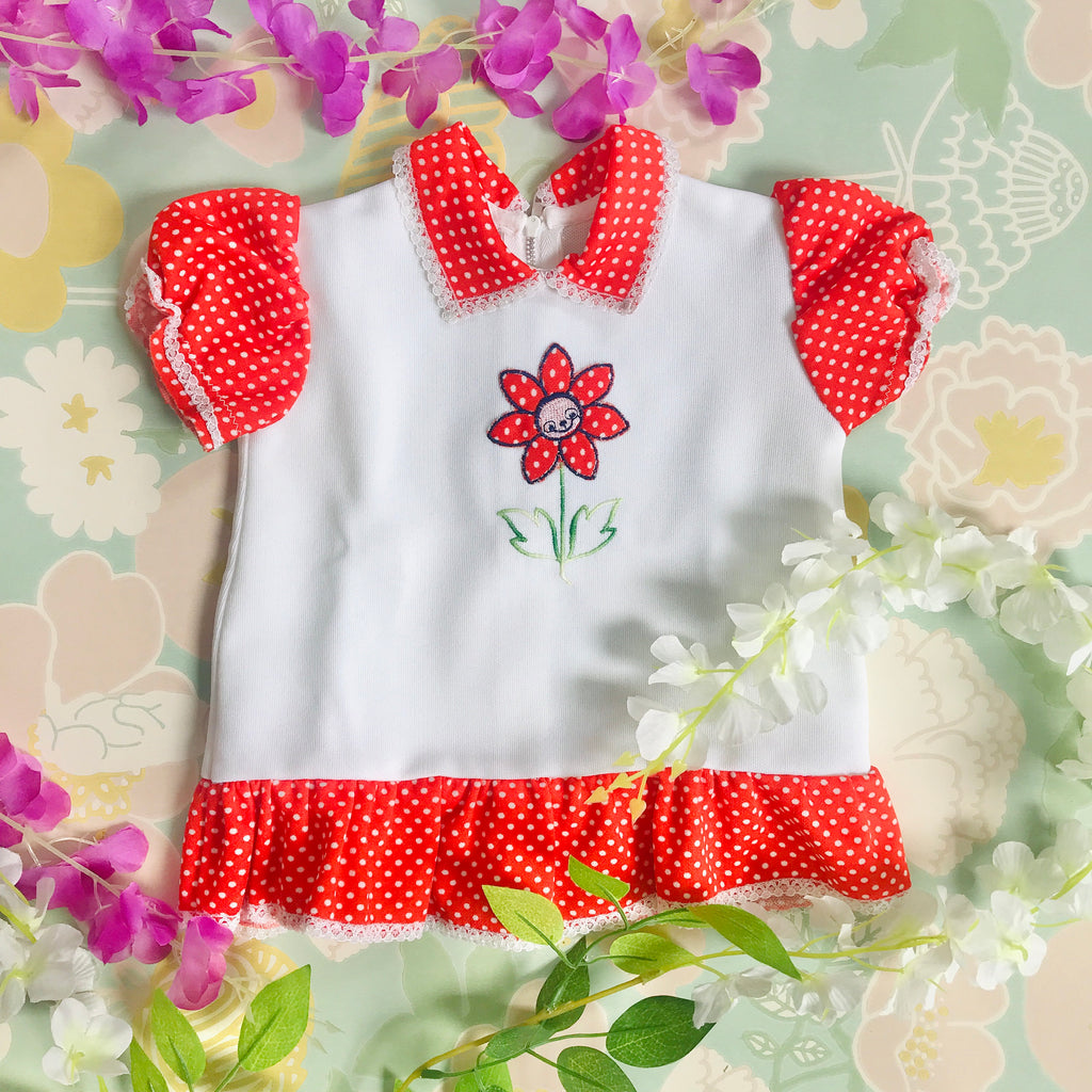 "Vintage Deadstock 1960's White / Red ""Floral Appliqué""  Baby Dress French Made 3-6 Months"