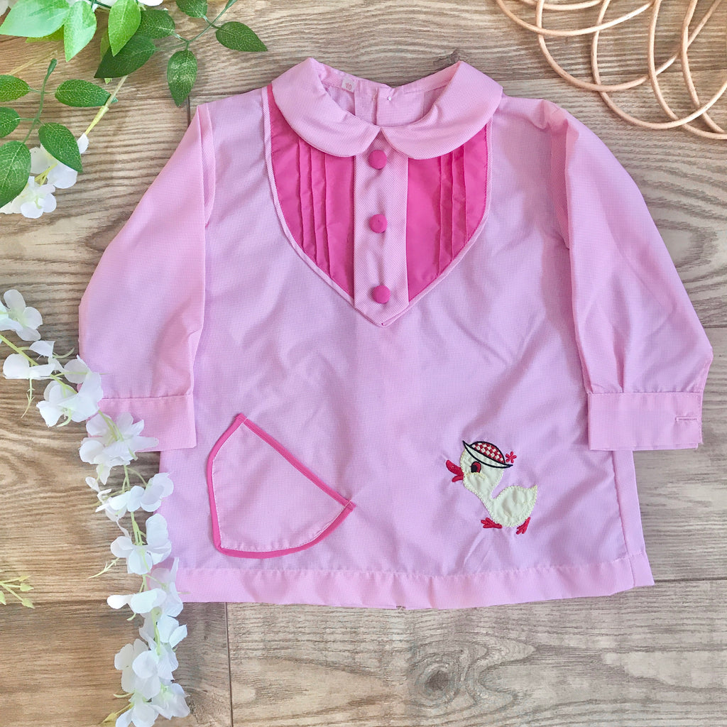 "Vintage 1960s ""Baby Duck"" Pink Baby / Toddler Dress / Blouse French Made 12-18 Months"