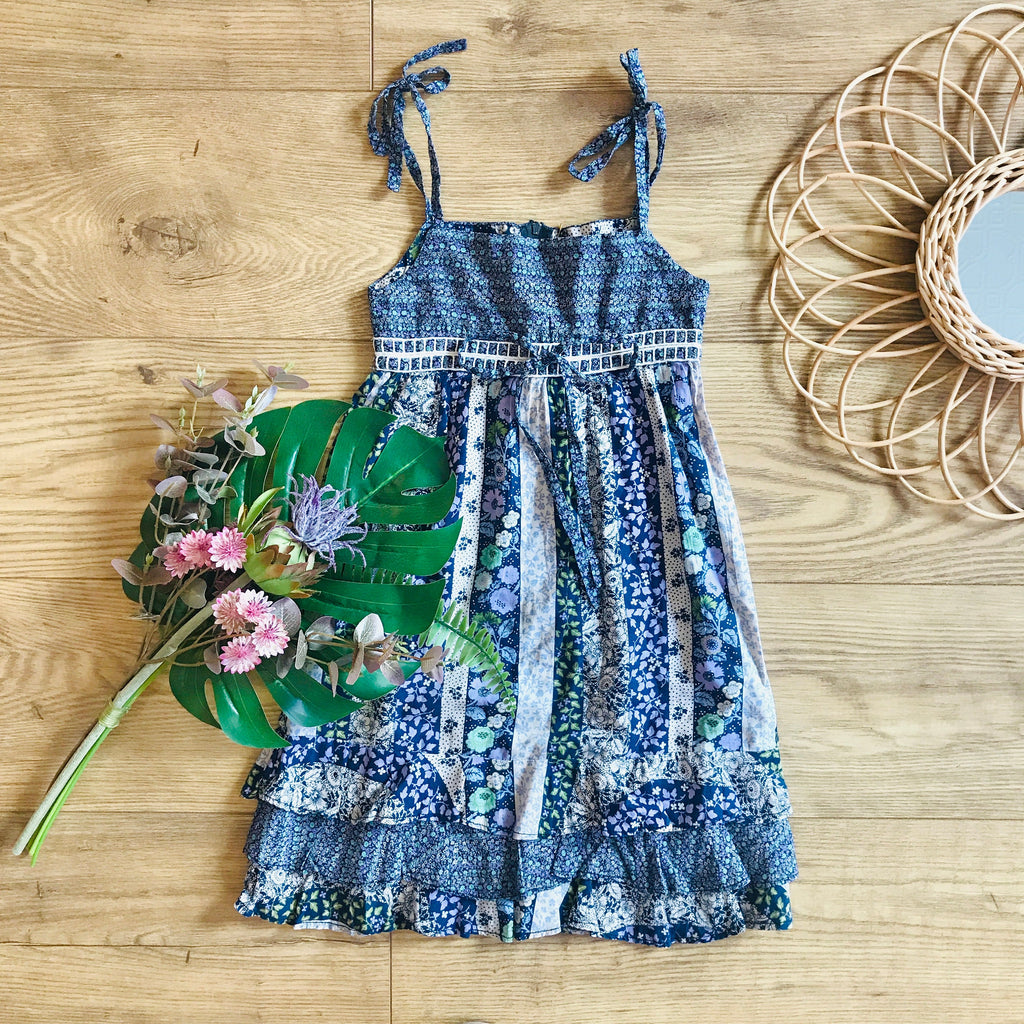 Vintage 1970's Blue Floral Boho / Folk Girl's Summer Dress French Made 5-6 Years