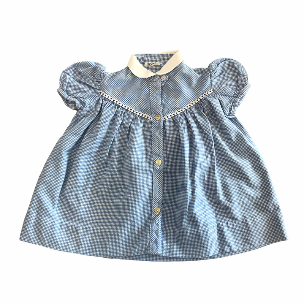 60's  Blue Vintage Babygirl Dress French Made 9-12 Months