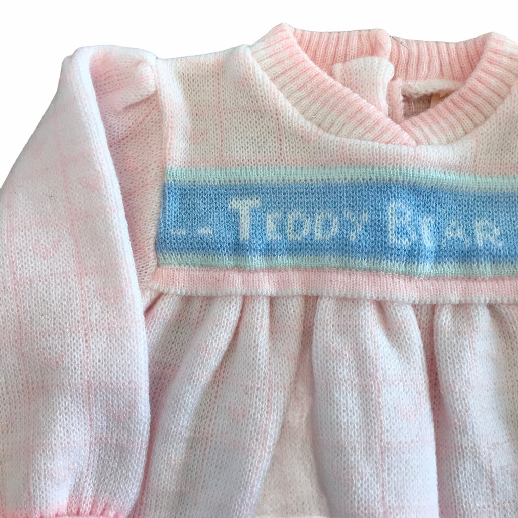 "Vintage 1970s Pink ""Teddy Bear"" Knitted French Made 9-12 Months"