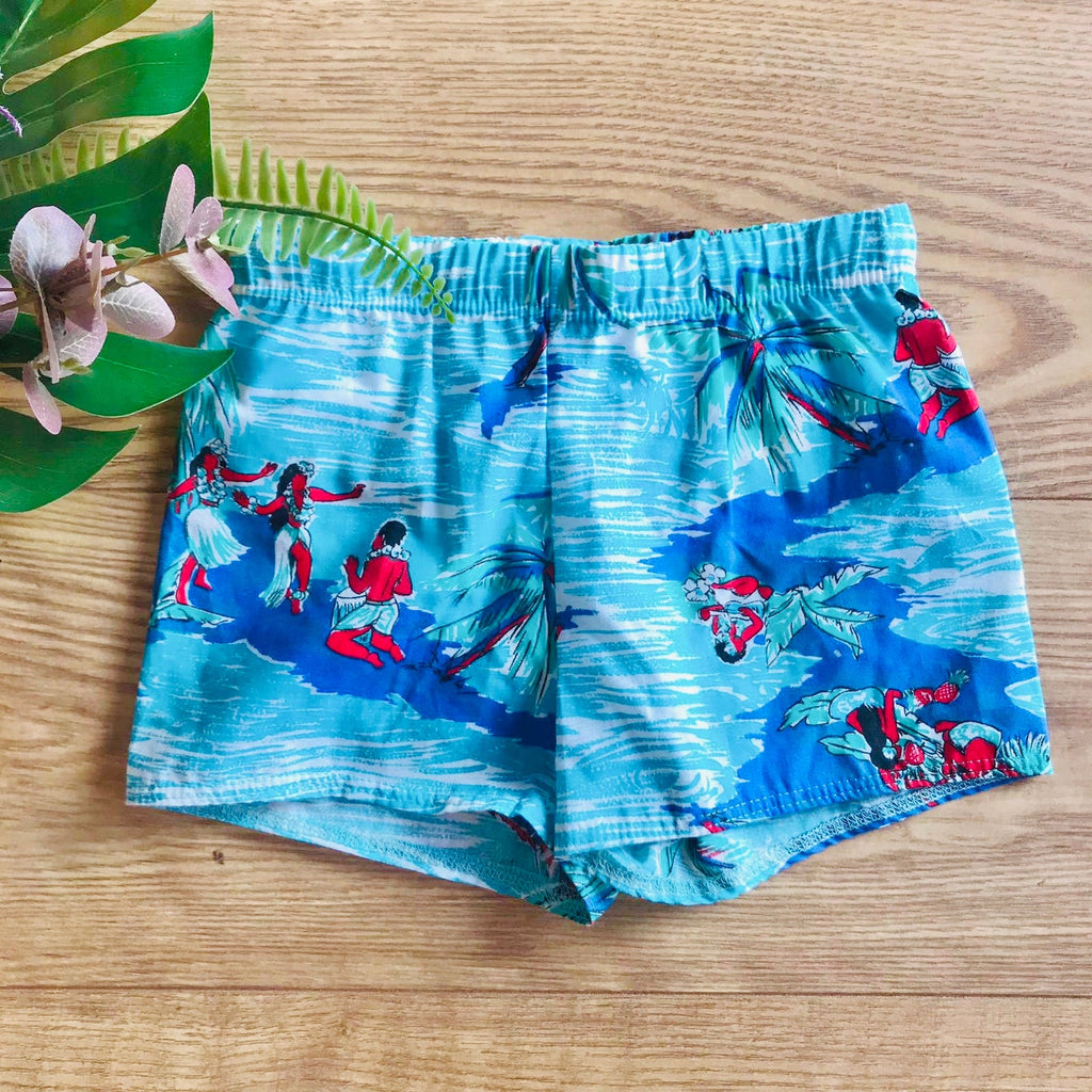 1980's Vintage Turquoise Kids Mod Swimming Shorts French Made 5-6Y