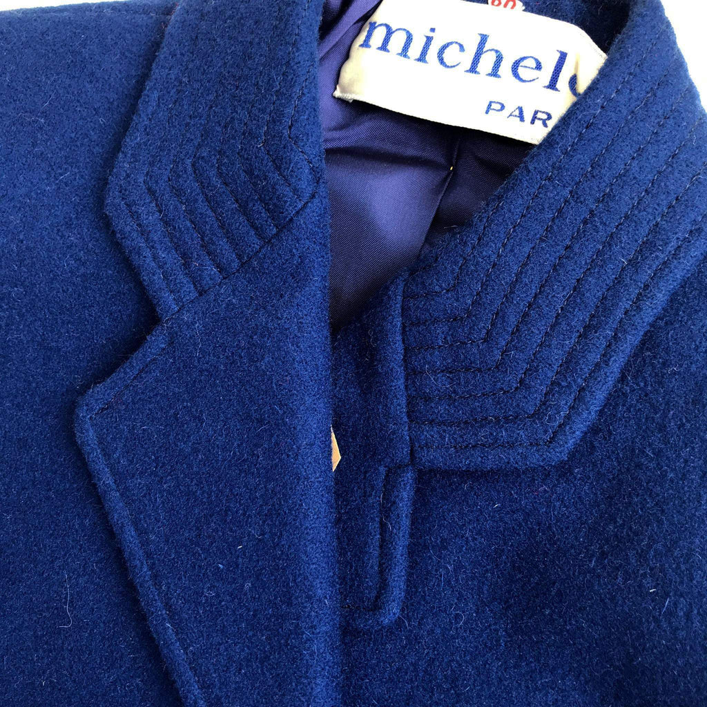 Vintage 60's Blue Caban Wool Double Breasted Blazer French Stock 5-6 Years-Jackets and Coats-Petit Pays Vintage