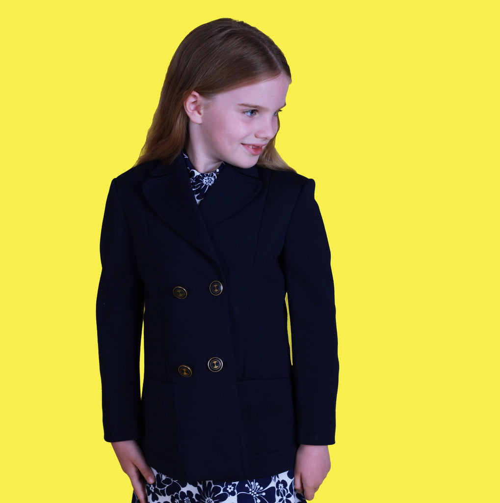 Vintage 60's Dark Blue Wool Jersey Double Breasted Blazer / Jacket French New Old Stock 6-8Y-Jackets and Coats-Petit Pays Vintage