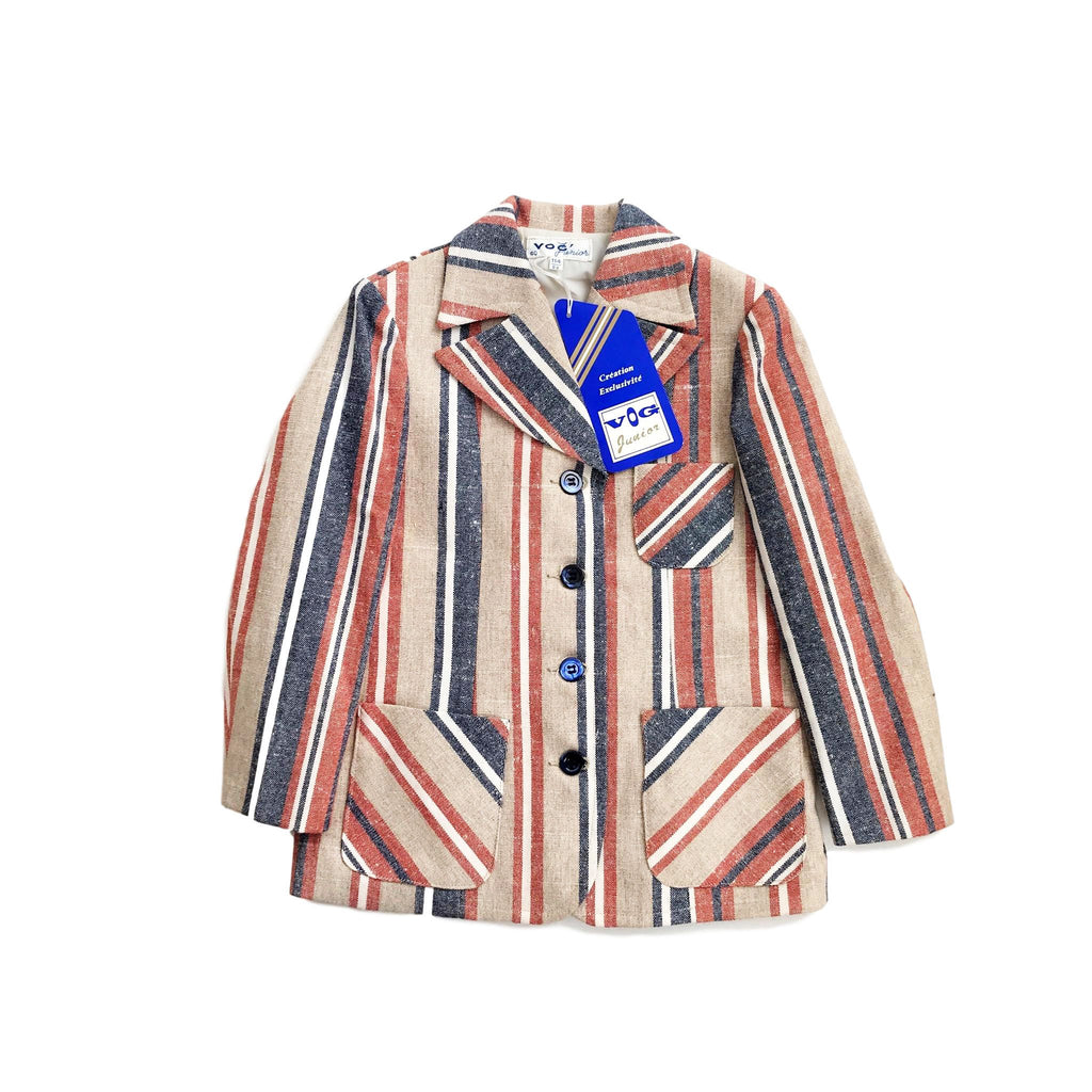 60's Striped Blazer / Jacket French New Old Stock 6-8Y-Jackets and Coats-Petit Pays Vintage