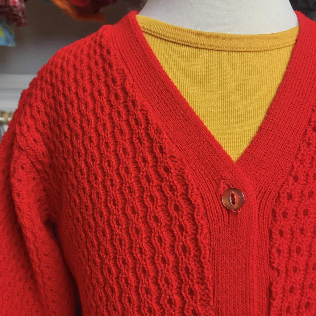 Vintage 60's Children's Red Knitted Cardigan British Made 6-8 Years-Knitwear-Petit Pays Vintage