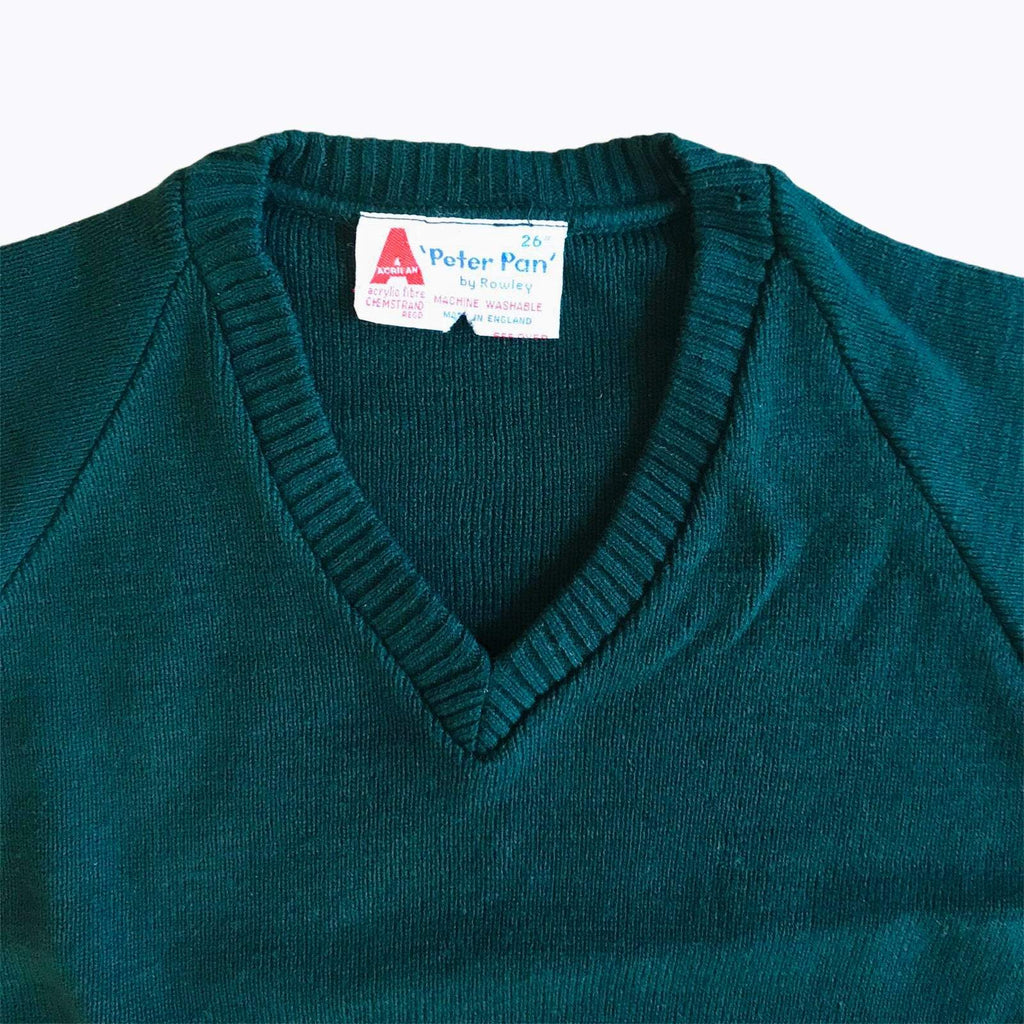 Vintage 1960's Forest Green V-Neck Children's Jumper British Made 5-6Y-Knitwear-Petit Pays Vintage