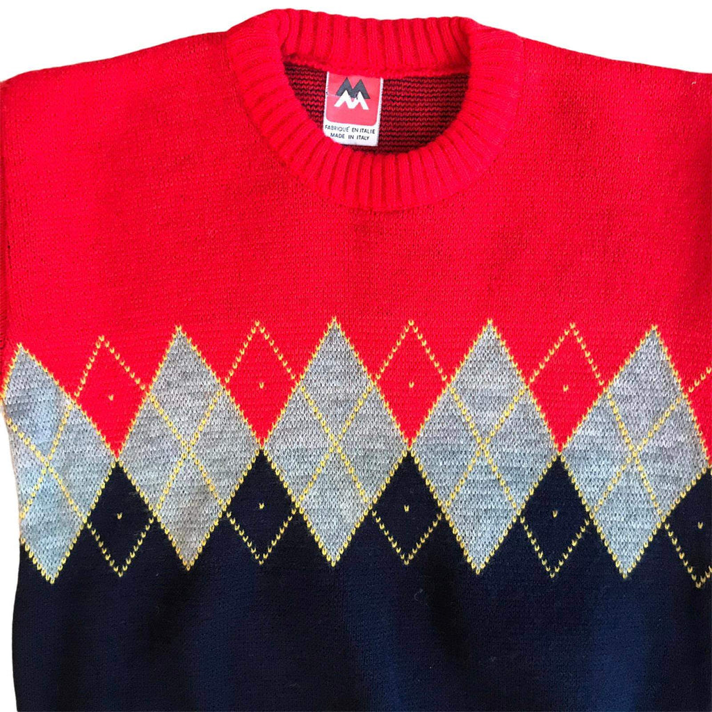 Vintage 70's Children's Red / Navy Jacquard Jumper Italian Made 8-10 Years-Knitwear-Petit Pays Vintage