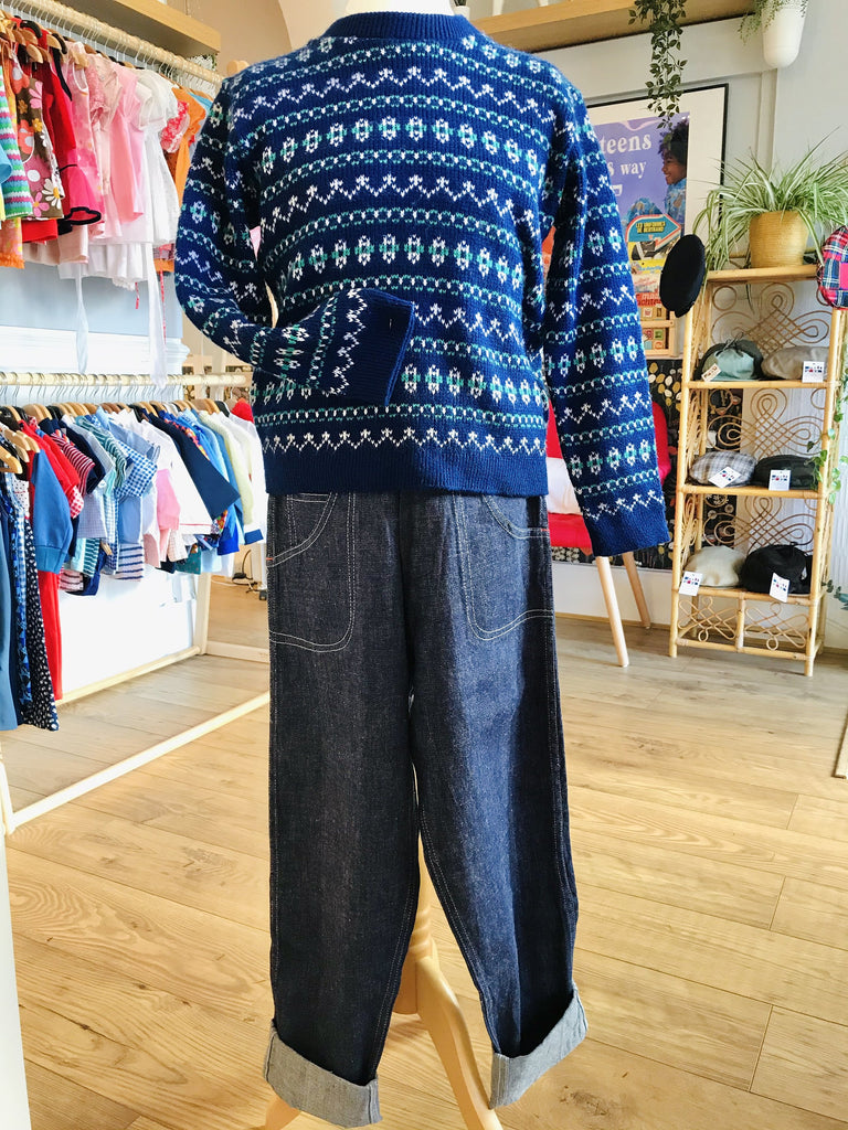 Vintage 1970's Children's / Teen Blue Jacquard Winter Jumper Size 10 Years up-Knitwear-Petit Pays Vintage