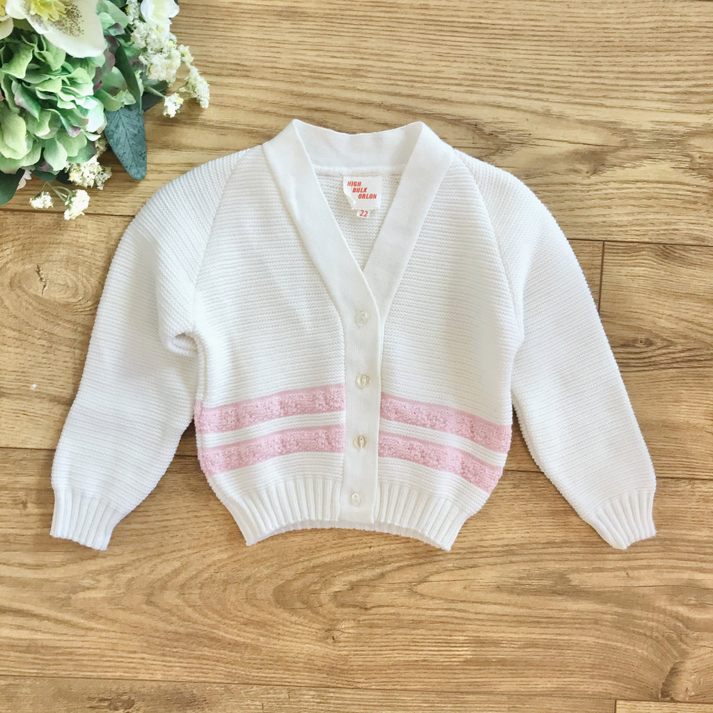 Vintage 1960's Deadstock White / Pink Knitted Cardigan British Made 12-18M-Knitwear-Petit Pays Vintage