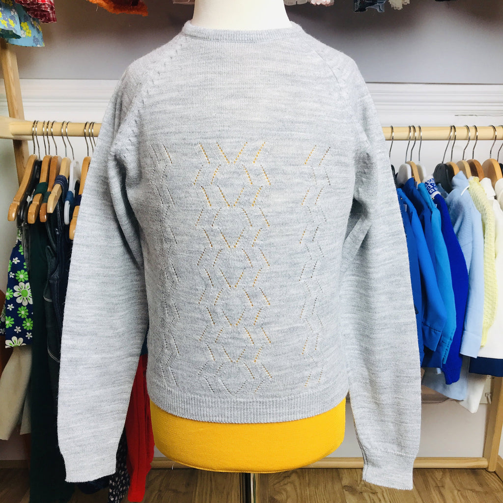 Vintage 60's Children's Grey Jumper British Made 6-8 Years-Knitwear-Petit Pays Vintage
