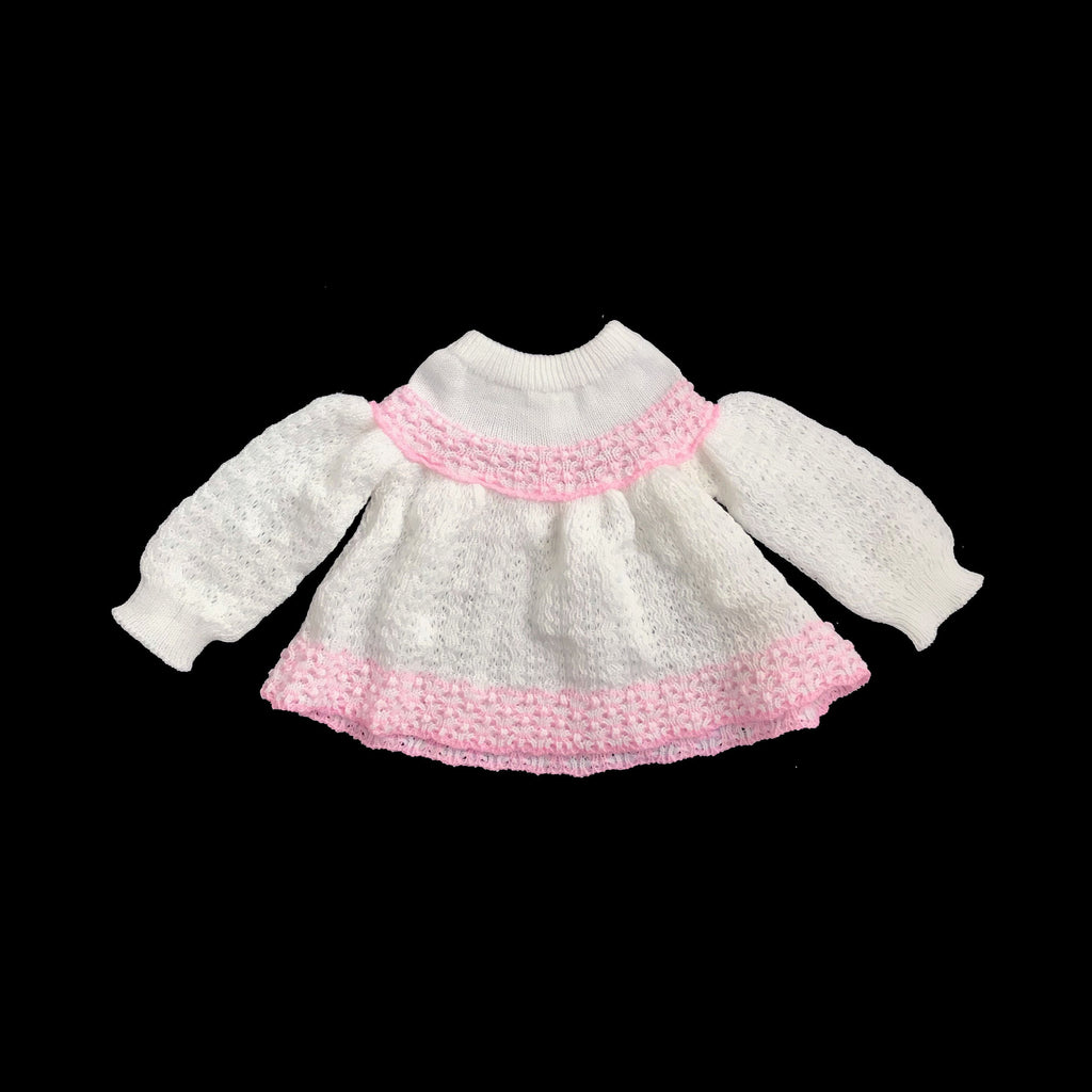 Vintage 70s Knitted White/Pink Top/Dress New Old Stock 6-9 Months-Knitwear-Petit Pays Vintage