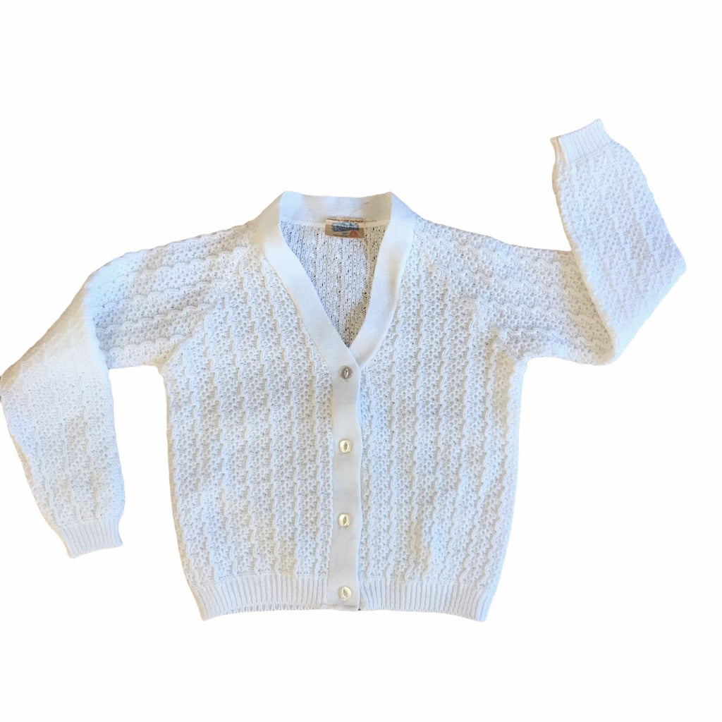 Vintage 60's Children's White Knitted Cardigan British Made 4-5 Years-Knitwear-Petit Pays Vintage