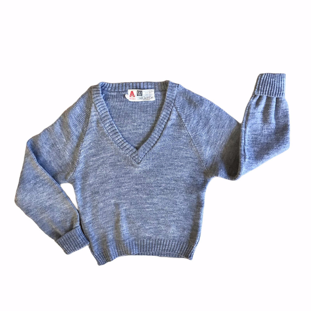 Vintage 60's Children's Grey V-Neck Jumper British Made 4-5 and 5-6 Years-Knitwear-Petit Pays Vintage