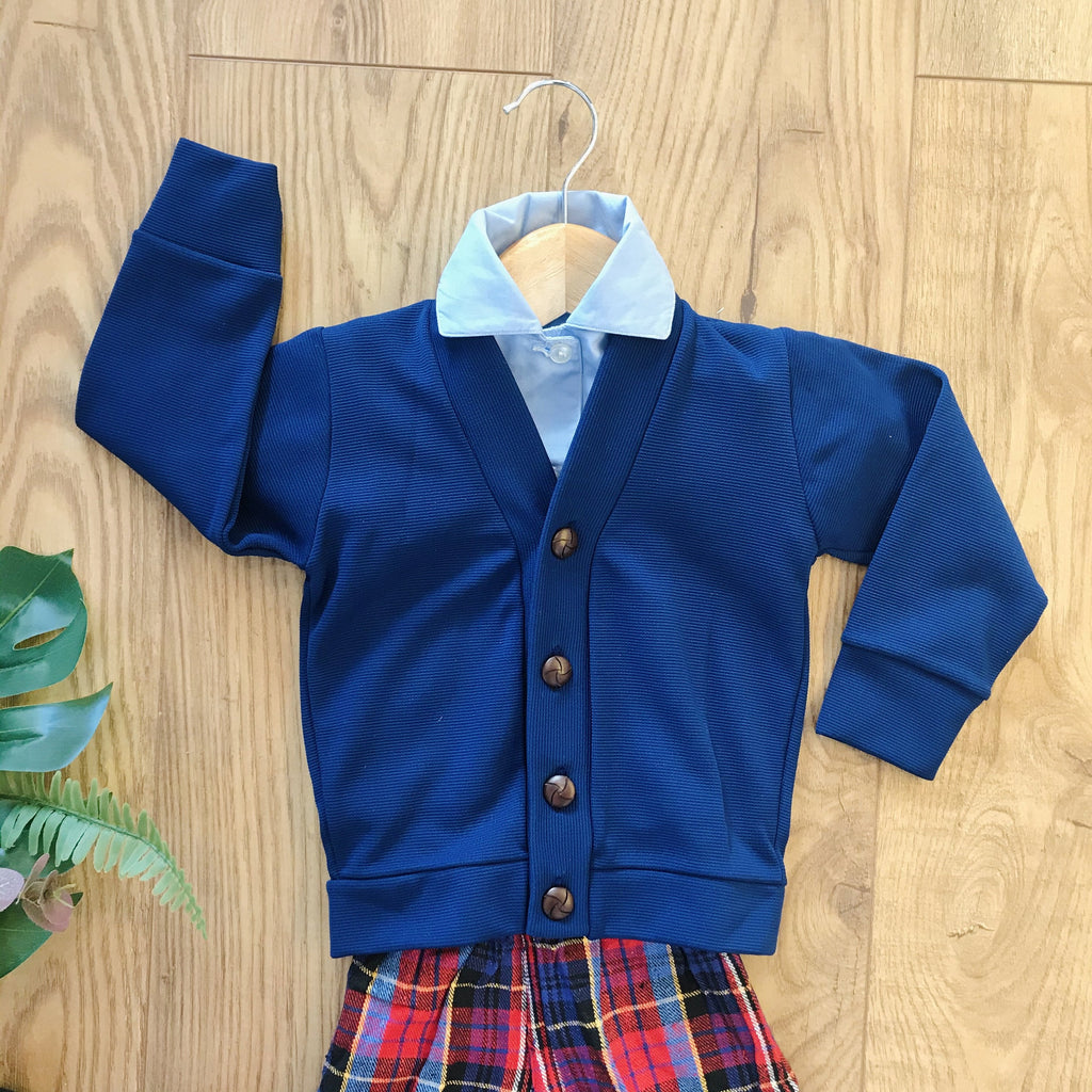 Vintage 1970's Navy Blue Baby / Toddler Cardigan British Made 9-12M-Knitwear-Petit Pays Vintage