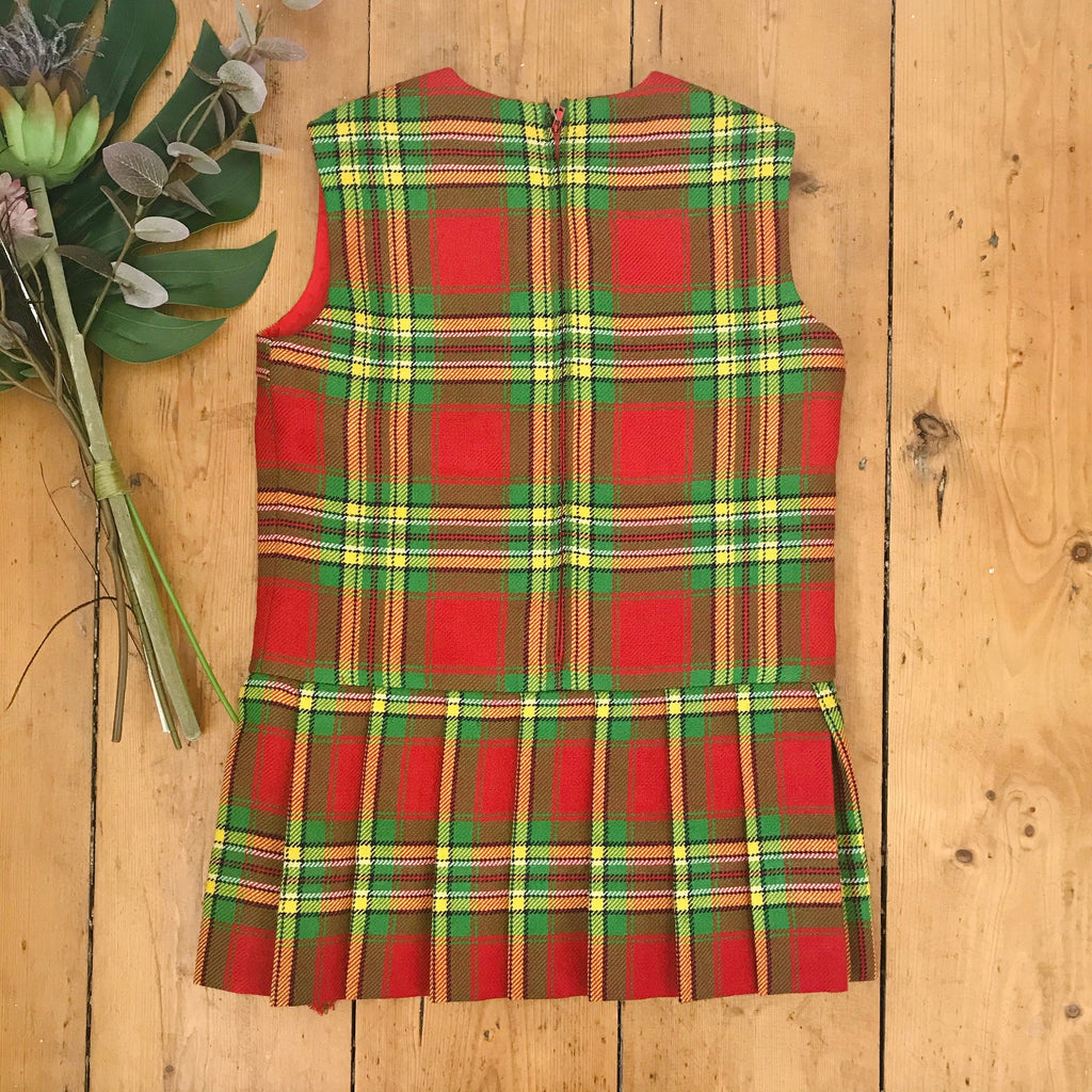 Vintage 60's Tartan Green Wool Blend Tartan Dress French Stock 3-4Y-Petit Pays Vintage