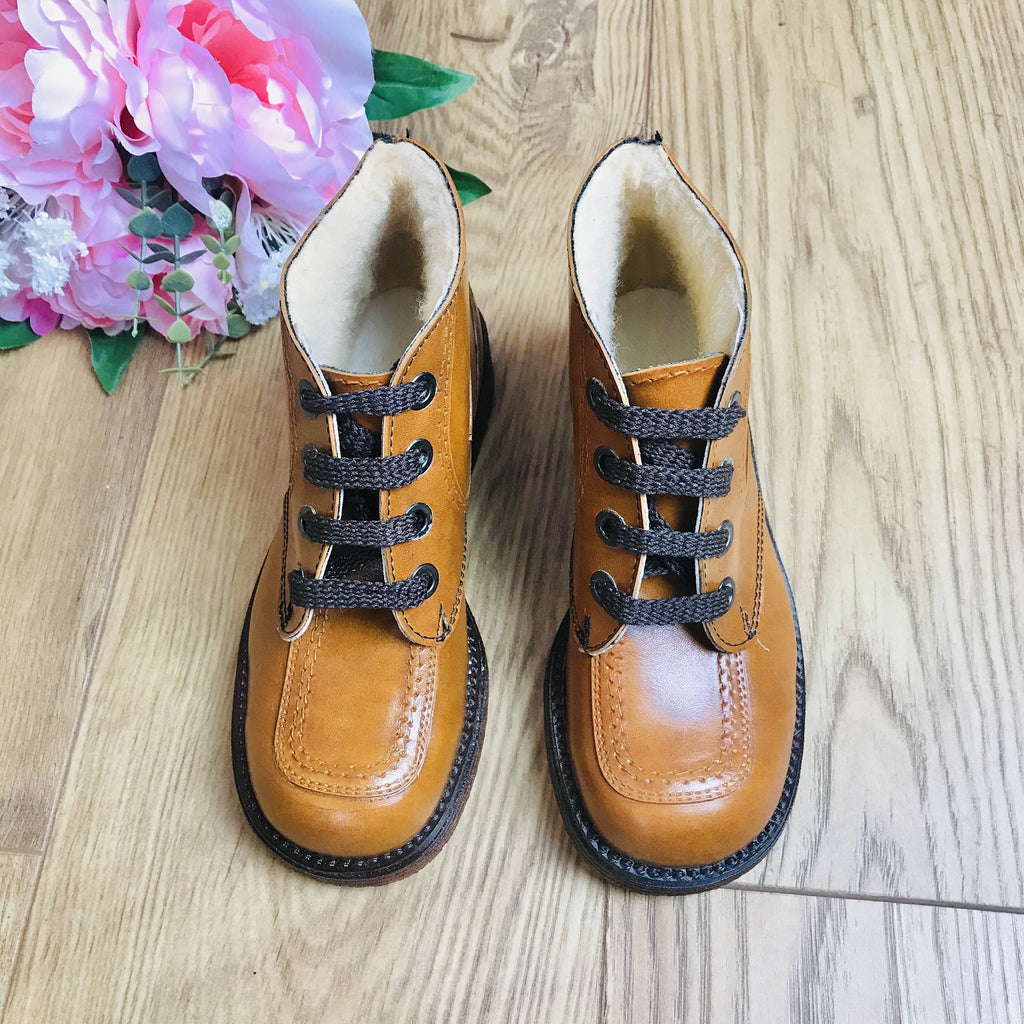 Deadstock 1970's Children's Cosy Brown Lined Vegan Low Boots Made in France EU 32, 33, 34-Shoes-Petit Pays Vintage