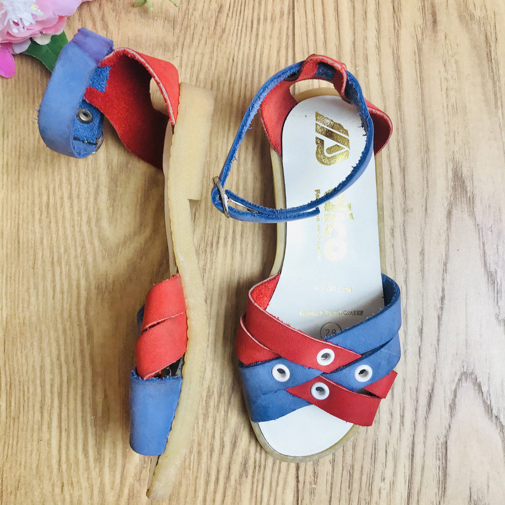 Deadstock 1970's Vintage Red / Blue Suede Leather Kids Sandals Made in France EU 30-32-33-Shoes-Petit Pays Vintage