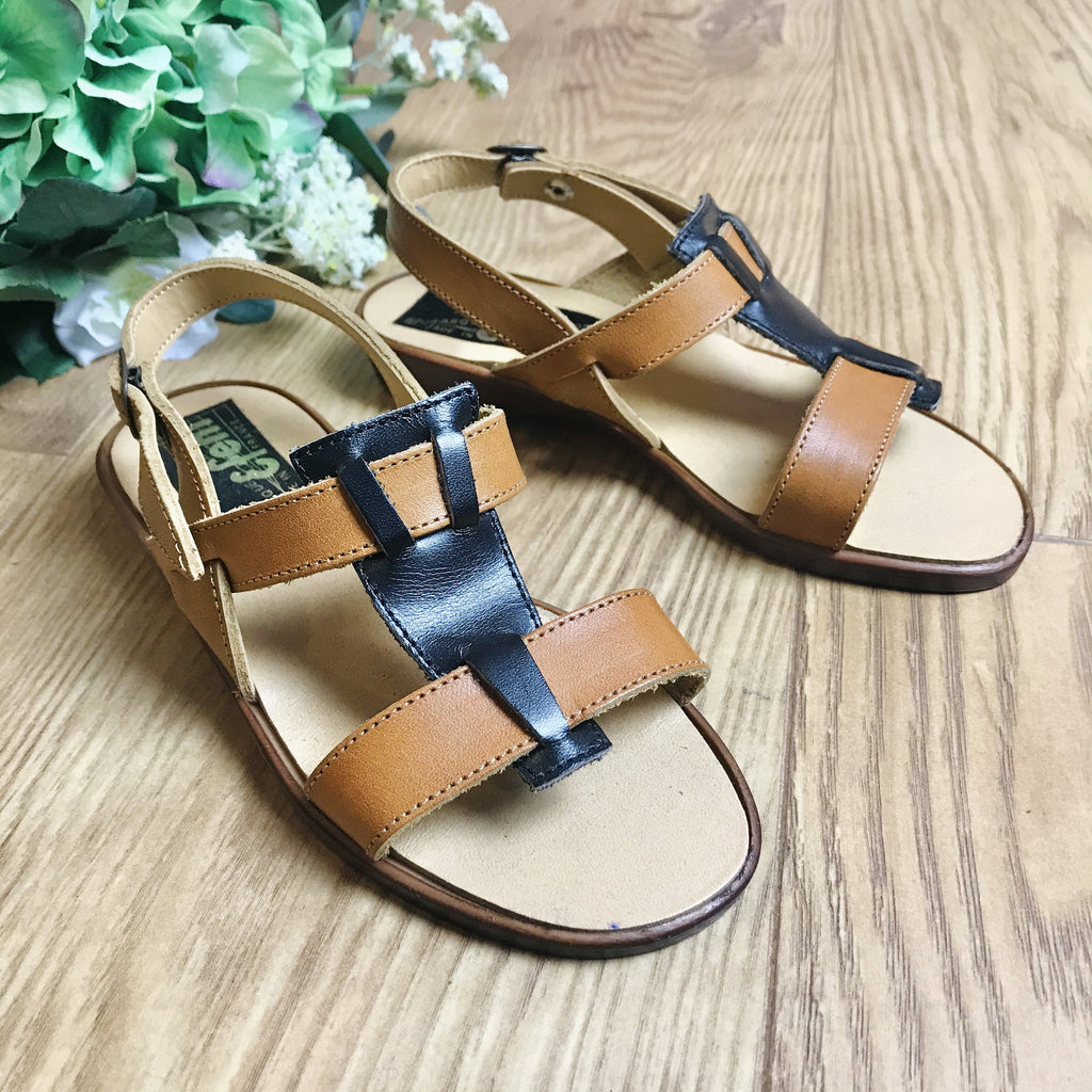 Deadstock 1970's Vintage Brown Leather Kids Sandals Made in France EU 28, 30, 31, 32-Shoes-Petit Pays Vintage
