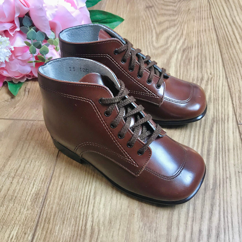 Deadstock 1970's Toddler Vegan Brown Walkers Made in France EU 25-Shoes-Petit Pays Vintage