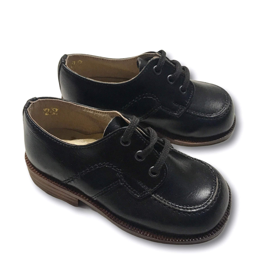 Deadstock 1970's Vintage Baby Black Formal Derbies Shoes Made in Italy EU 22-Shoes-Petit Pays Vintage