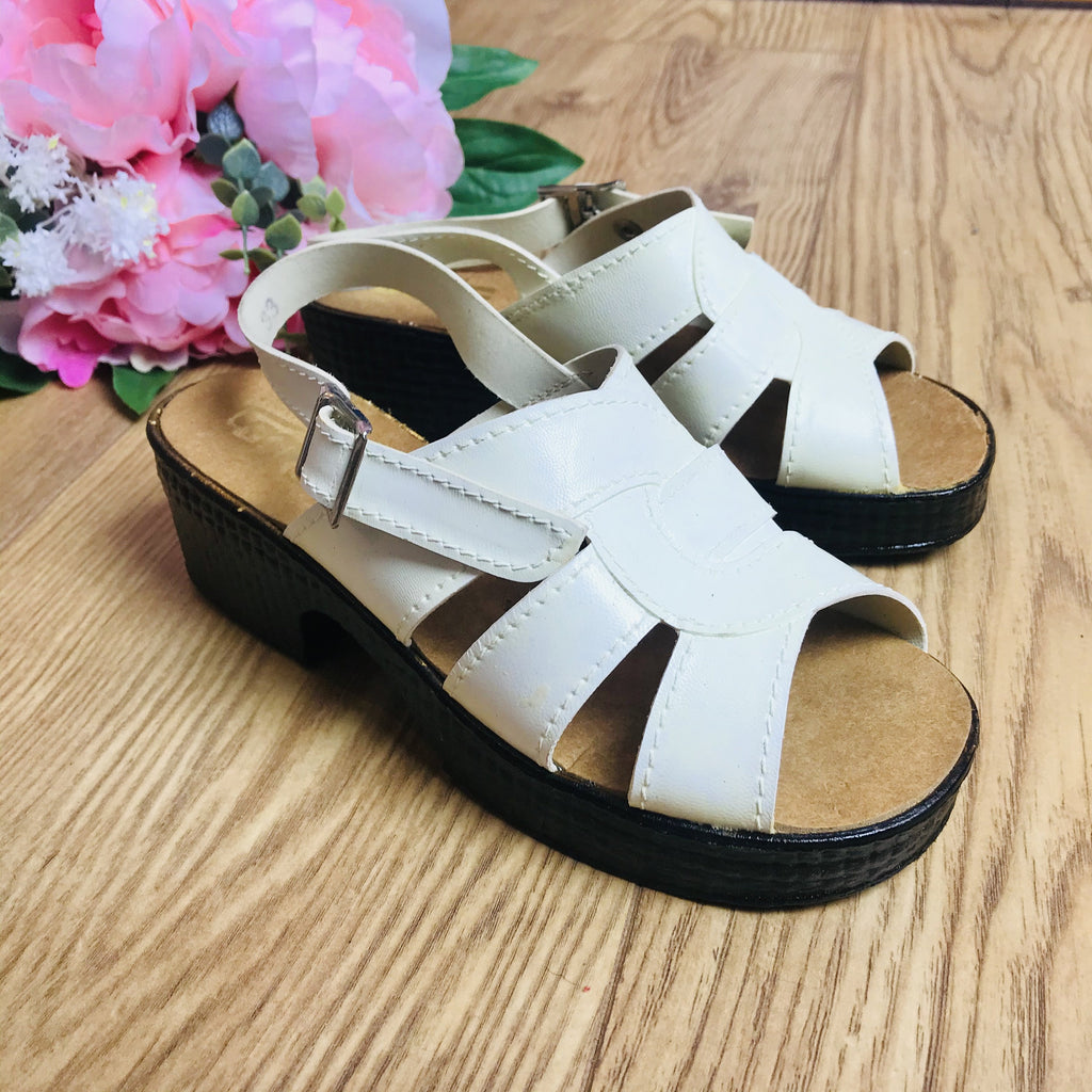Deadstock 1970's Vintage Vegan Open Toe Kids White Sandals Made in France EU 28-33-Shoes-Petit Pays Vintage