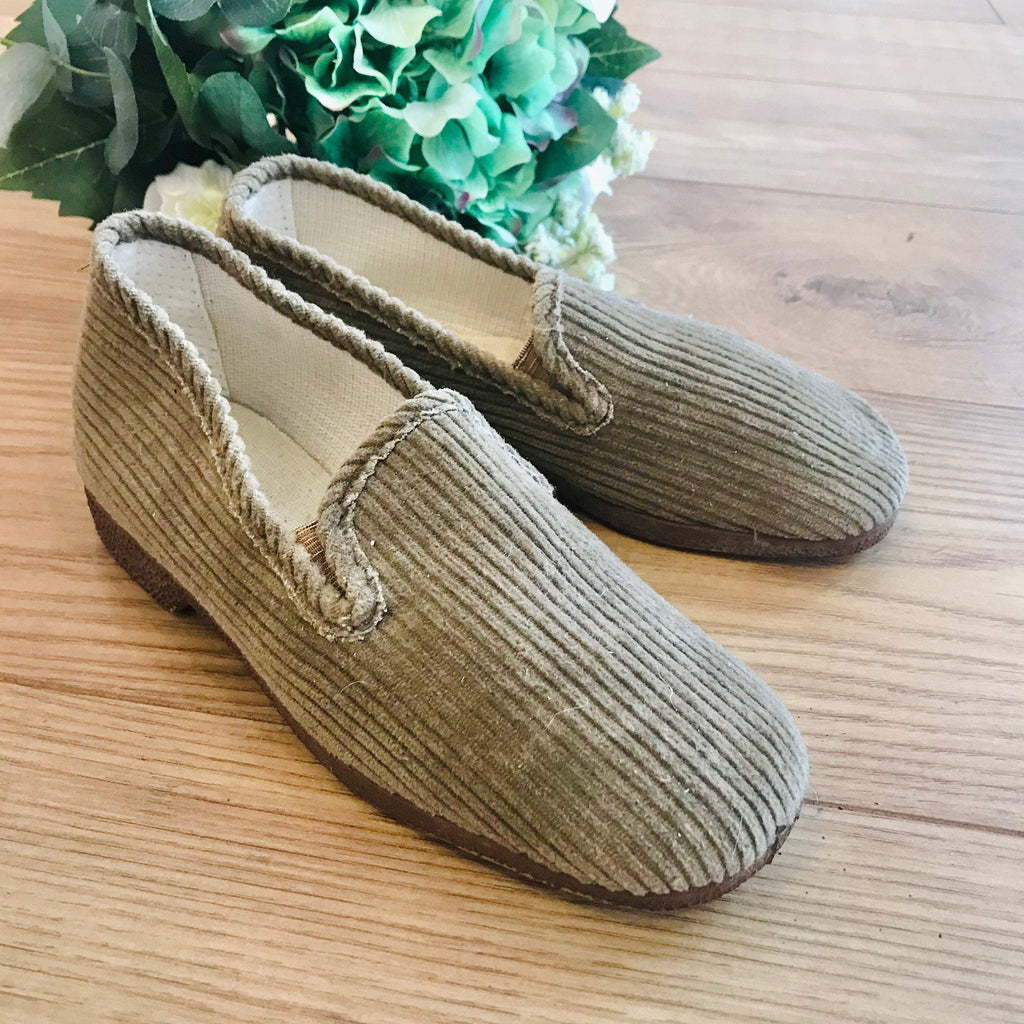 Vintage 1970s Beige Cord Warm Lined Children's Slippers Made in France EU 33-Shoes-Petit Pays Vintage