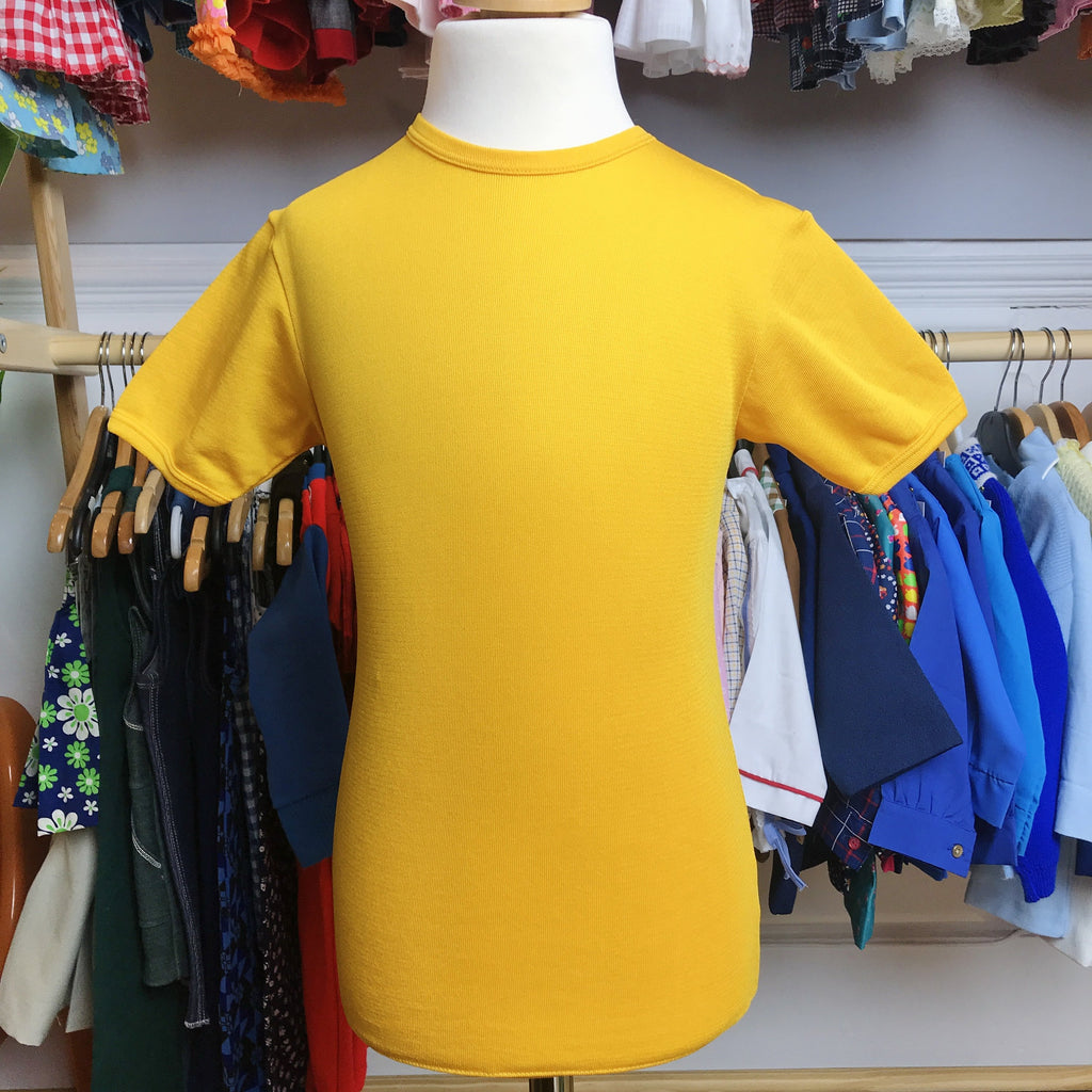Deadstock Vintage 60's Yellow Nylon Top /Tee French Made 6-8Y-Top-Petit Pays Vintage