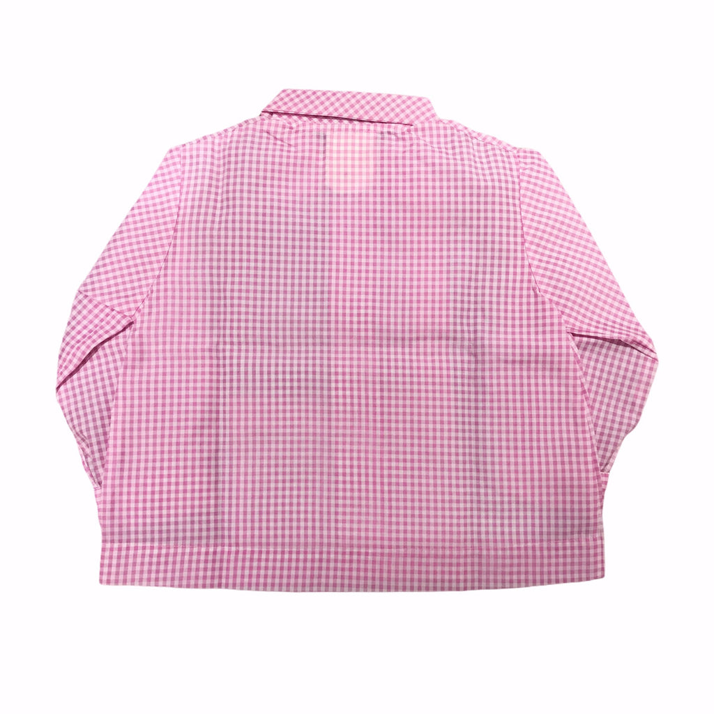 70s Vintage Pink Gingham Nylon School Blouse/Shirt French Made 18-24M-Tops-Petit Pays Vintage
