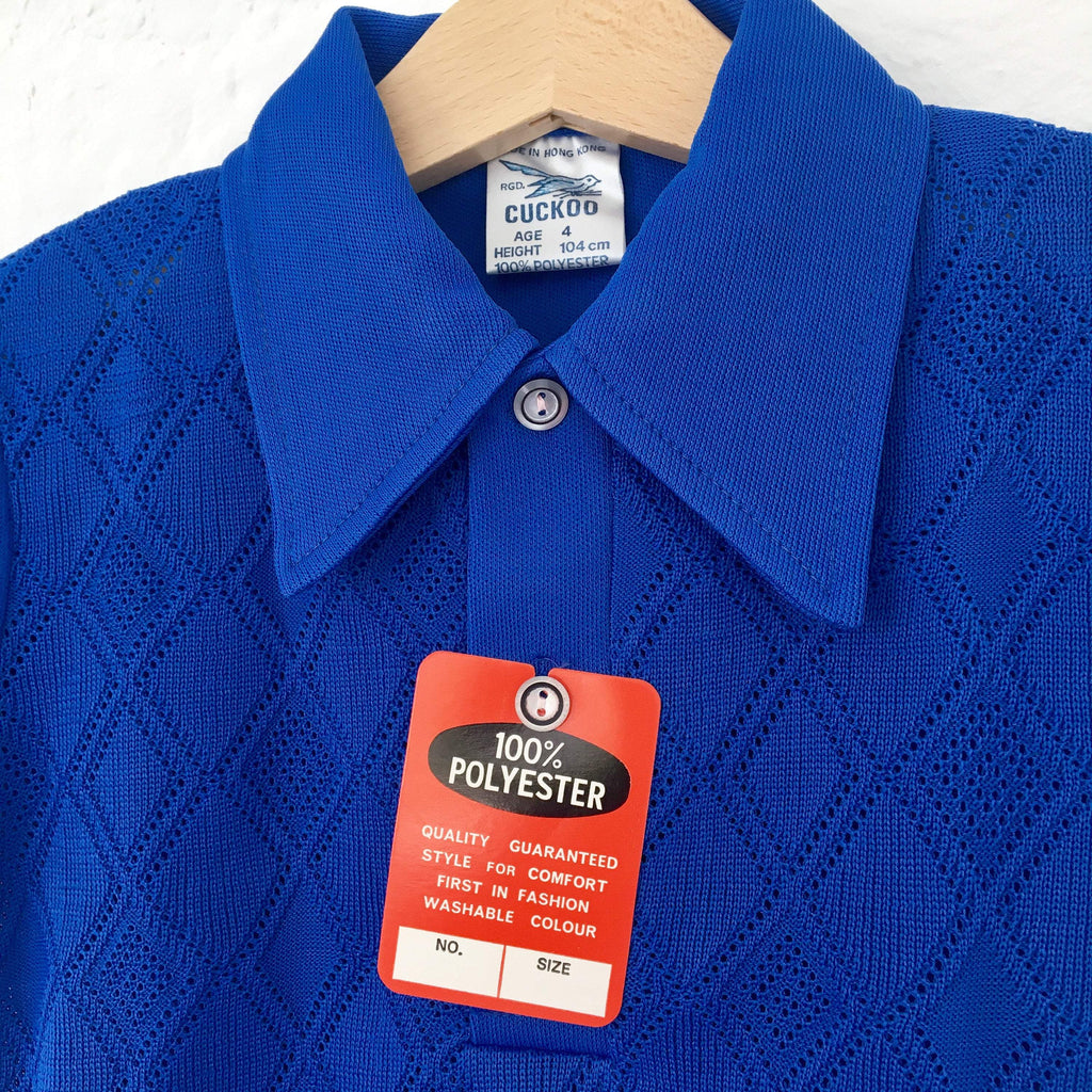 Vintage 60's Blue Polo Shirt 5-6 Years-Tops-Petit Pays Vintage