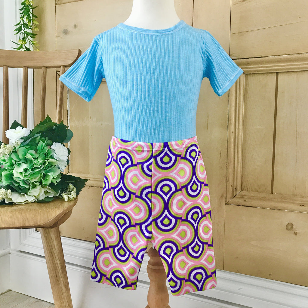 Deadstock Vintage 1970s Blue Ribbed Tee / Top French Made 4-5Y-Tops-Petit Pays Vintage