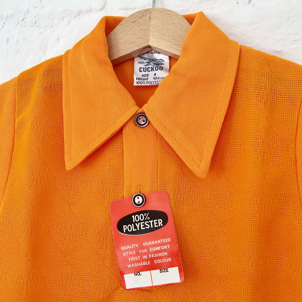 Vintage 60's Neon Orange Polo Shirt 6-8Y-Tops-Petit Pays Vintage