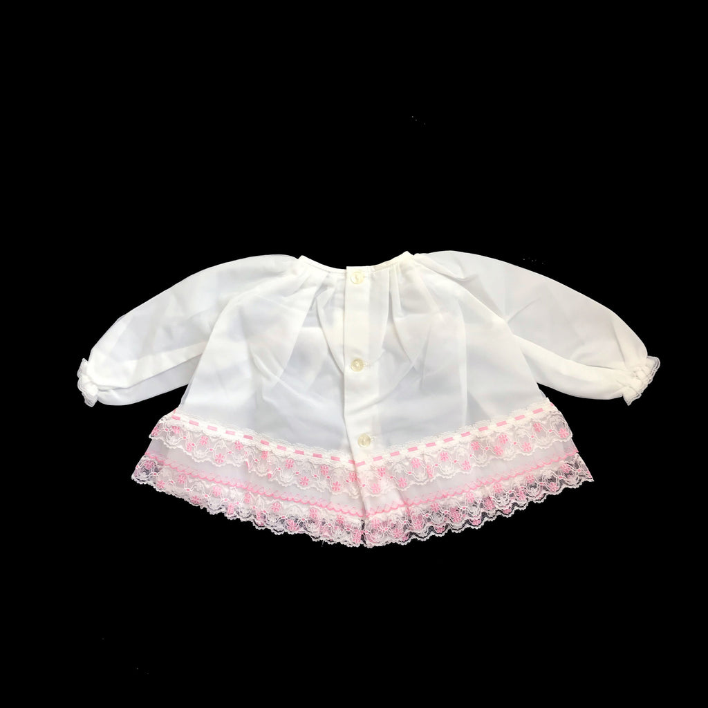 Vintage 60's White/Pink Sheer / Ruffle Dress Made in Britain NOS 3-6M-Tops-Petit Pays Vintage