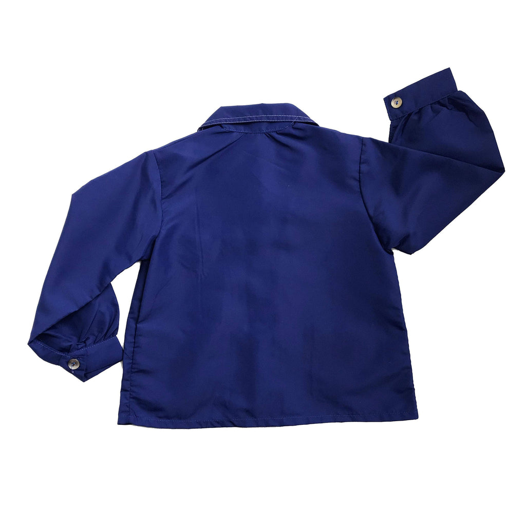 "60's Blue School ""PARACHUTE"" Nylon Blouse French Stock 3-4Y-Tops-Petit Pays Vintage"