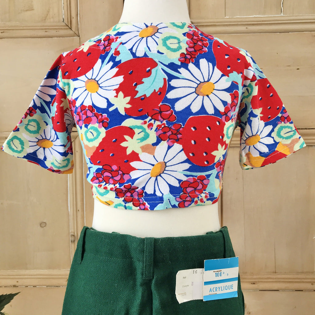 Vintage 1970's Children Boho Floral Crop Top / Tee Made in France 4-5 Years-Tops-Petit Pays Vintage