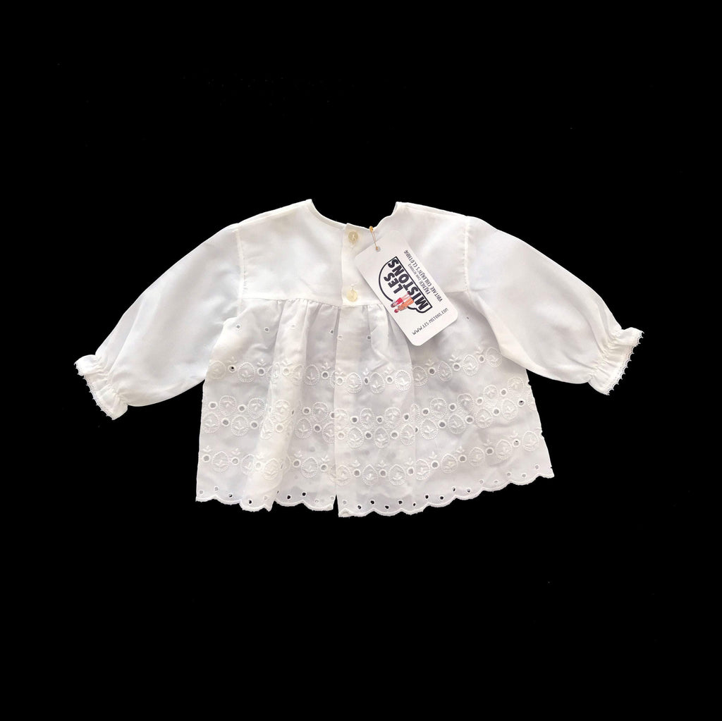 Vintage 60's White Lightweight Embroidered Shirt/ Top / Blouse Made in France 3-6 Months-Tops-Petit Pays Vintage