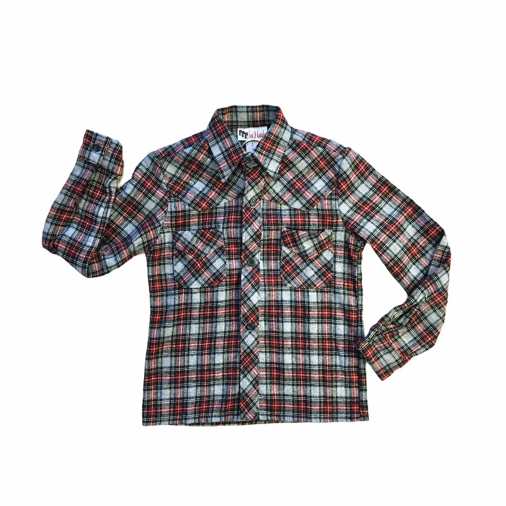 Vintage 1970's Flannel Tartan Children's Shirt French Made 4-5Y-Tops-Petit Pays Vintage